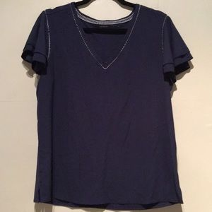 Ann Taylor | blue Flutter Sleeve V neck Blouse